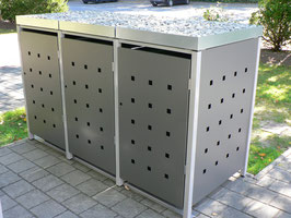 3er Mülltonnenbox 120L mit Pflanzdach