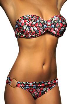 Twist Push Up Bandeau Bikini Set Kleine Blumen - 047