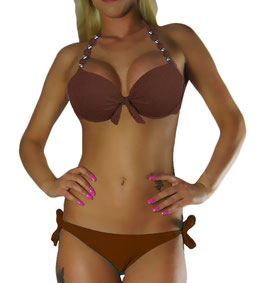 Twist Push Up Bandeau Bikini Set Braun Perle - 048