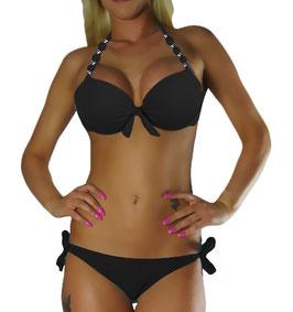 Twist Push Up Bandeau Bikini Set Schwarz Perle - 042