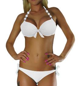 Twist Push Up Bandeau Bikini Set Weiss Perle - 050