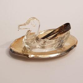 Glas-Salzschälchen Ente, mit Zange