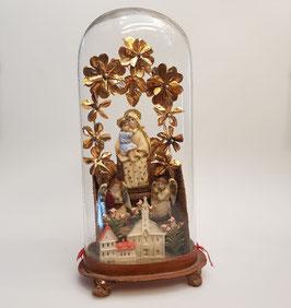 Klosterarbeit, Madonna mit Klosteransicht