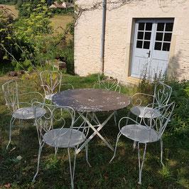 Gartengarnitur mit 6 Stühlen, selten grosser Tisch