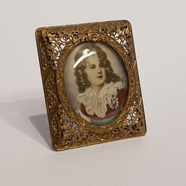 Alte Miniatur-Malerei, filigraner Rahmen