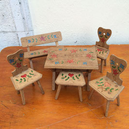 Puppenmöbel, Garnitur, Holz bemalt