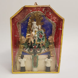 Klosterarbeit, Madonna m. Kind, reich orniert