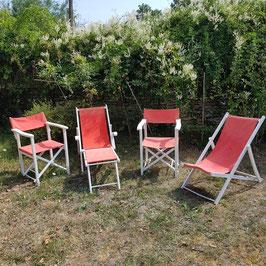 Traumhafte Garten-Sitzgarnitur, Stoff und Holz, wohl 60er Jahre