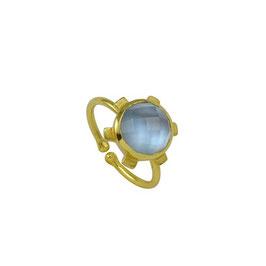 "Blüten-Ring mit hellblauem Quarz ""MONA"""