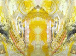 LEINWAND-Druck  - Spiegelbild Farbenergie Gelb
