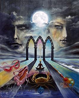 Leinwanddruck - Der Mond / Sakis-Tarot