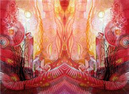LEINWAND-Druck  - Spiegelbild Farbenergie Rot