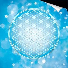 Poster FineArt - Blume des Lebens Farbenergie Blau