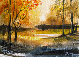 Original Landschaftsaquarell - Sunset im Odenwald