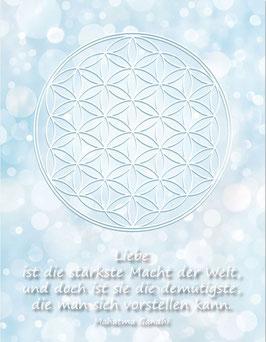 Postkarte, Blume des Lebens, Farbenergie Weiß