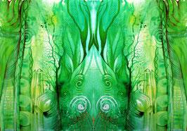 LEINWAND-Druck  - Spiegelbild Farbenergie Grün