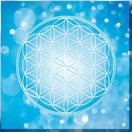 Leinwand - Blume des Lebens Farbenergie Blau