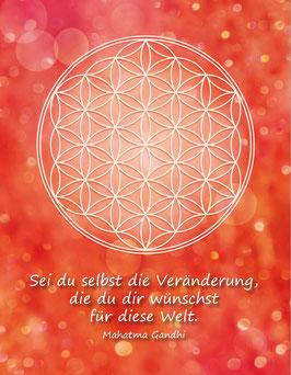 Postkarte, Blume des Lebens, Farbenergie Rot