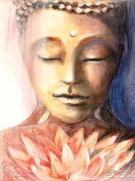 LEINWANDDRUCK - Buddha mit Lotusblüte