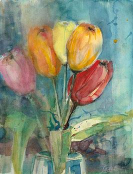 Leinwandbild - Tulpen 4 , Aquarell