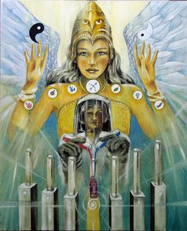 Leinwanddruck - Die Mäßigkeit (Alchemie) / Sakis-Tarot