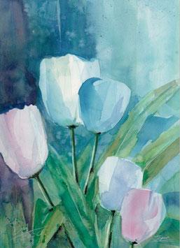 Leinwandbild - Tulpen 3 , Aquarell