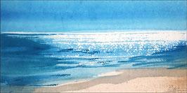 Landschaftsaquarell - Lust auf Meer / Südseesonne, Druck auf Alu-Dibond-Platte