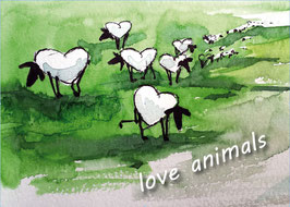 "Kunst-Postkarte "" love animals""  Nr.1"