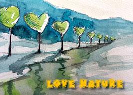 "Kunst-Postkarte "" love natur""  Nr.1"