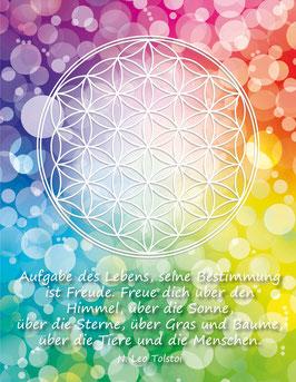 Postkarte, Blume des Lebens, Farbenergie des Regenbogens