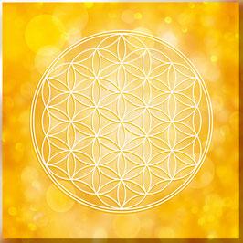 Leinwand - Blume des Lebens Farbenergie Gold