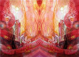 POSTER - Spiegelbild Farbenergie Rot