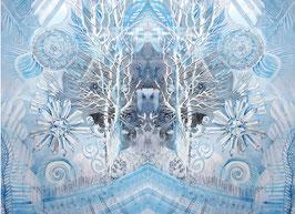 LEINWAND-Druck  - Spiegelbild Farbenergie Weiß
