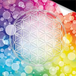 Poster FineArt - Blume des Lebens Farbenergie Bunt Regenbogen