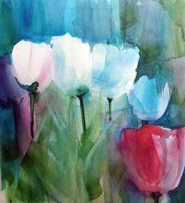 Alu-Dibond-Druck - Tulpen Aquarell