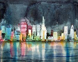 Phantasievolle Skyline und Umsetzung zum Thema Megacity, Aquarell gemalt von Jopie Bopp