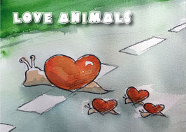 "Kunst-Postkarte "" love animals""  Nr.2"