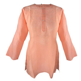 Gypsy Blouse -  apricot with white embroidery