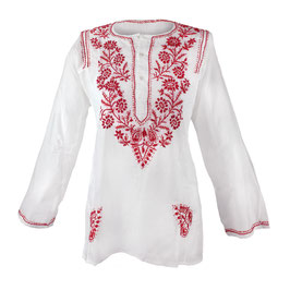 Gypsy Blouse -  white with red