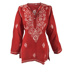 Gypsy Blouse -  red with white
