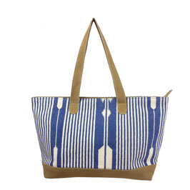 "Shopper ""STRIPES  a""  • jeans blue with beige leather"