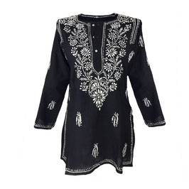 Gypsy Blouse -  black with white embroidery