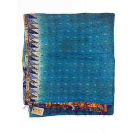 "Silk Kantha Scarf/Fabric  ""INDIAN OCEAN"""
