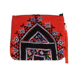 "Banjara XL-Clutch  ""The red stripe boho house """