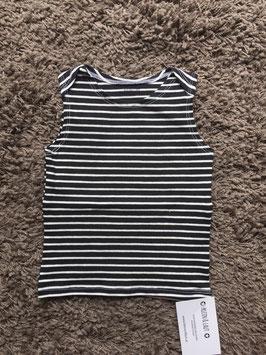 T-Shirt Ärmellos Mädchen Streifen schwarz