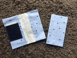 Mutterkindpass Hülle mit e-card Fach hellblau Streifen Sterne