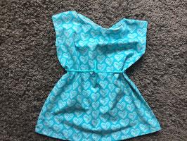 Mädchen Printkleid Jersey Herzen blau
