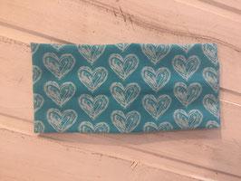 Stirnband Jersey Herzen blau