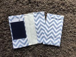Mutterkindpass Hülle mit e-card Fach Zacken grau/blau