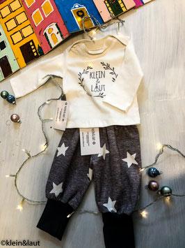 2-teiliges Set Grau mit Sternen T-Shirt und Pumphose 62/68
